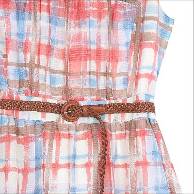 check pattern belt dress