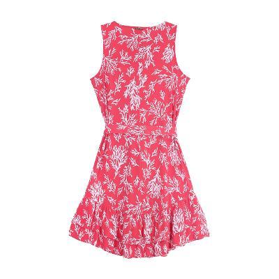 waist ribbon dress red
