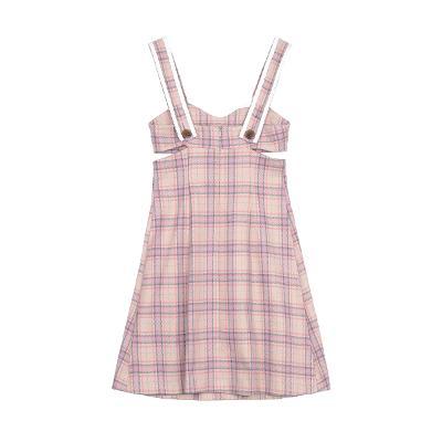 side cutting a-line check dress