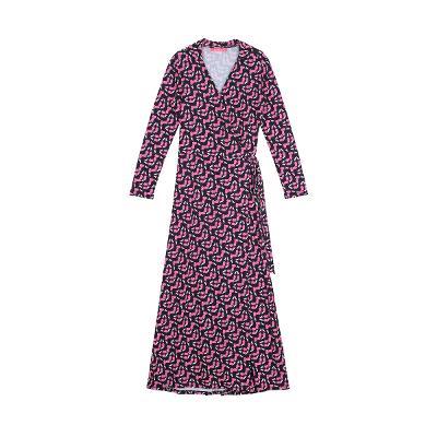 botanical pattern maxi wrap dress