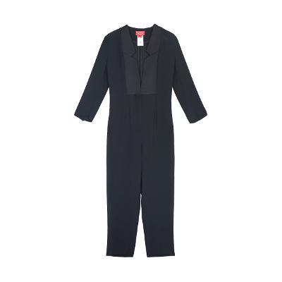 jacket collar design jumpsuit black