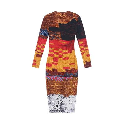 geometry pattern slit dress red