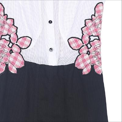 flower motive patched dress multi