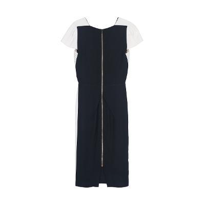 low v-neck unbalance dress black & white