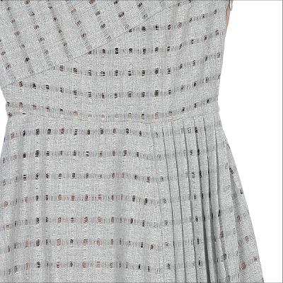 unbalance pleats detail check dress