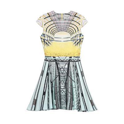 unique pattern cap sleeve dress