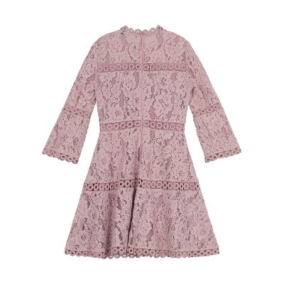 flare sleeve lace dress pink