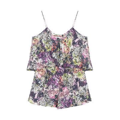 flower pattern sleeveless jumpsuits