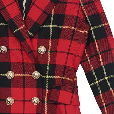 check pattern double button jacekt red