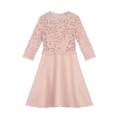 scallop neck line flare dress pink