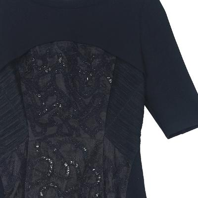 spangle pointed dress black