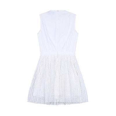 square punching sleeveless dress white