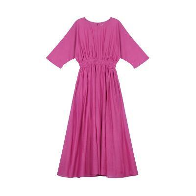 smocking detail long dress pink