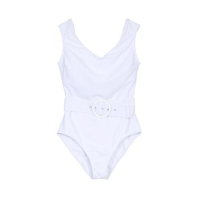 circle belted onepeice swimwear white