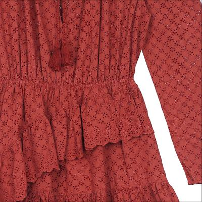punching lace tiered dress red