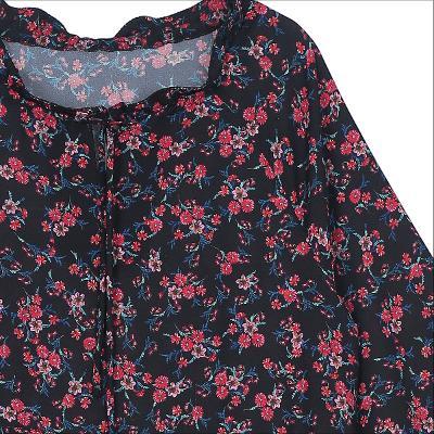 ribbon detail flower pattern dress