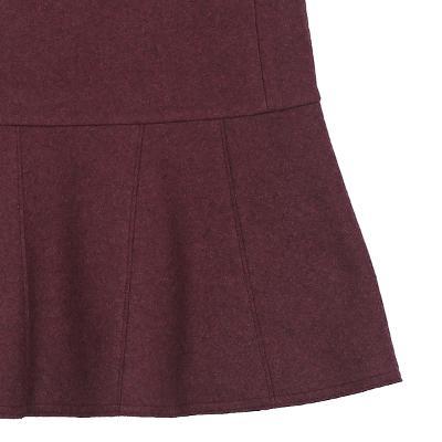 ruffle detail sleeveless dress wine