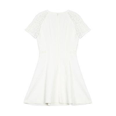 flower lace detail flare dress white