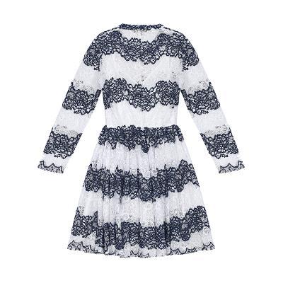 stripe pattern lace dress multi