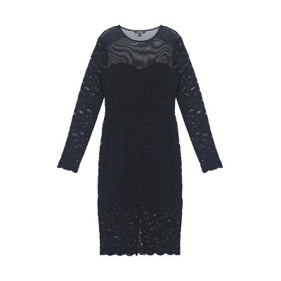 see-through detail lace dress