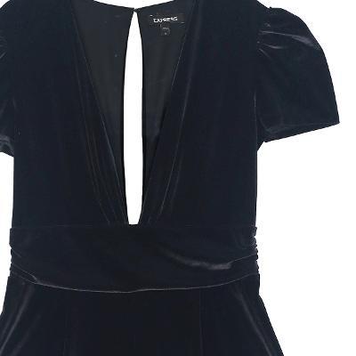 low v-neck velvet jumpsuit