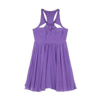 cutting detail flare dress purple