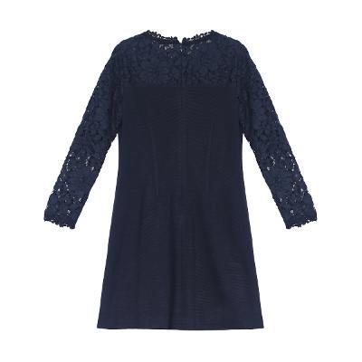 flower lace yoke dress navy