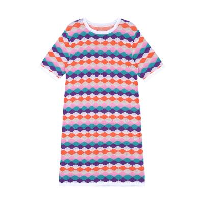 wave stripe pattern knit dress