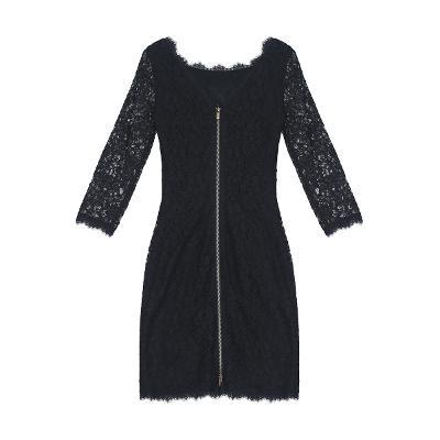 u-neck flower lace dress black