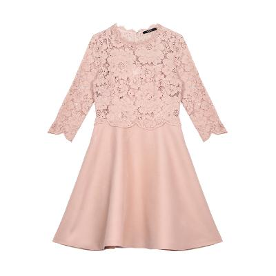 lace detail flower dress pink
