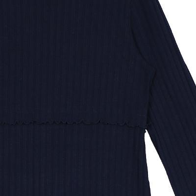 frill detail knit dress navy