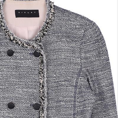 fringe double jacket gray