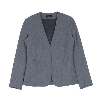 no collar jacket gray