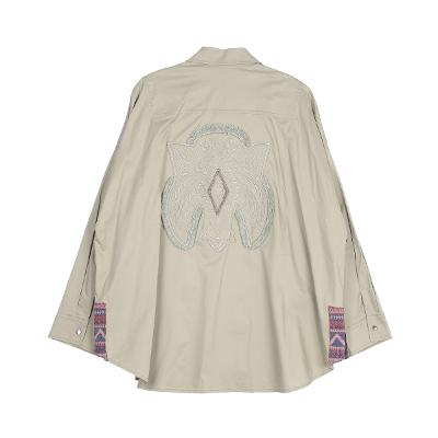 embroidery cape silhouette jacket beige