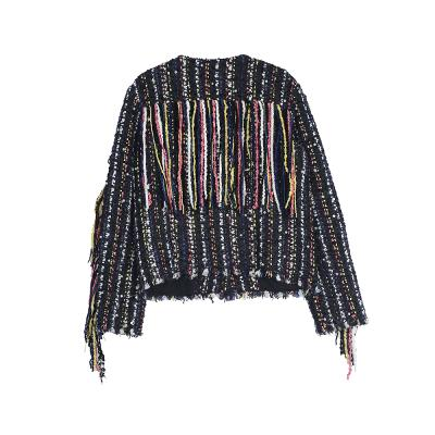 fringe tweed jacket black
