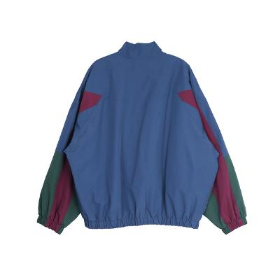 color block zip-up jumper blue