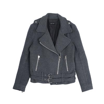 double belted jacket gray