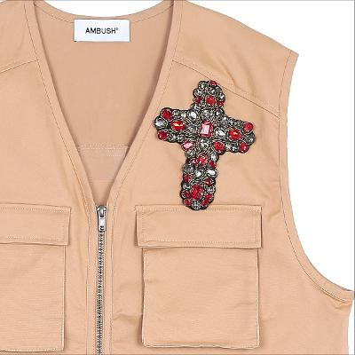 cubic broach vest brown