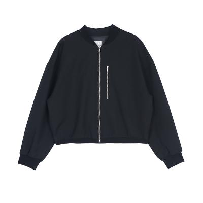 zip-up blouson jumper black