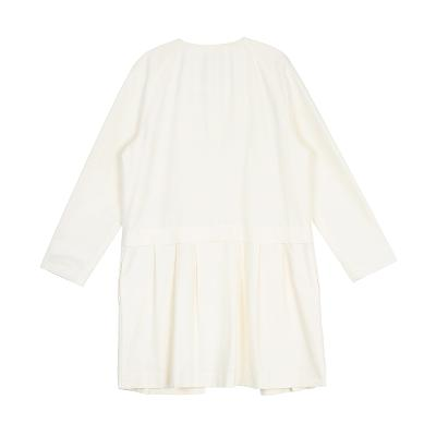 no collar pleats coat ivory