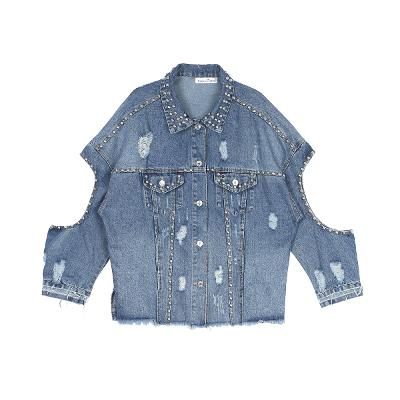 stud cutout denim jacket blue