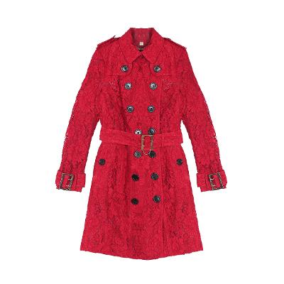 lace trench coat red