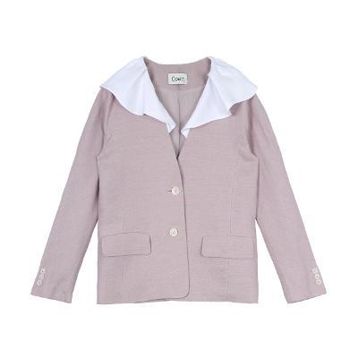 ruffle collar jacket pink