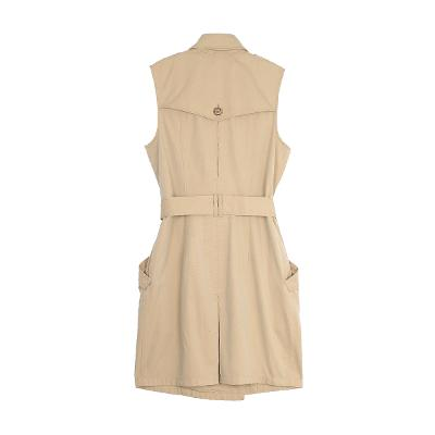 belted sleeveless trench coats