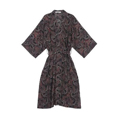 paisley pattern maxi robe black