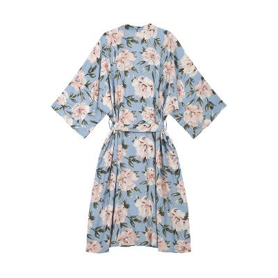 flower pattern maxi robe blue