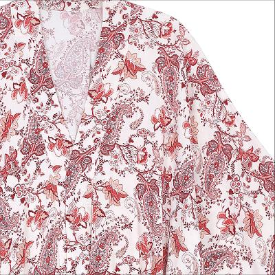 red paisley pattern maxi robe white