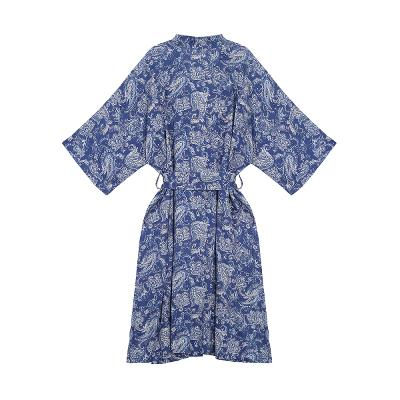 paisley pattern maxi robe blue