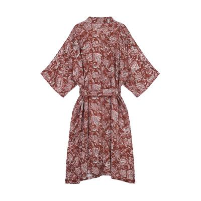 white paisley pattern maxi robe red