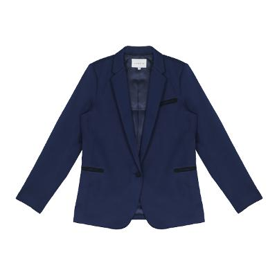 one button silky jacket blue